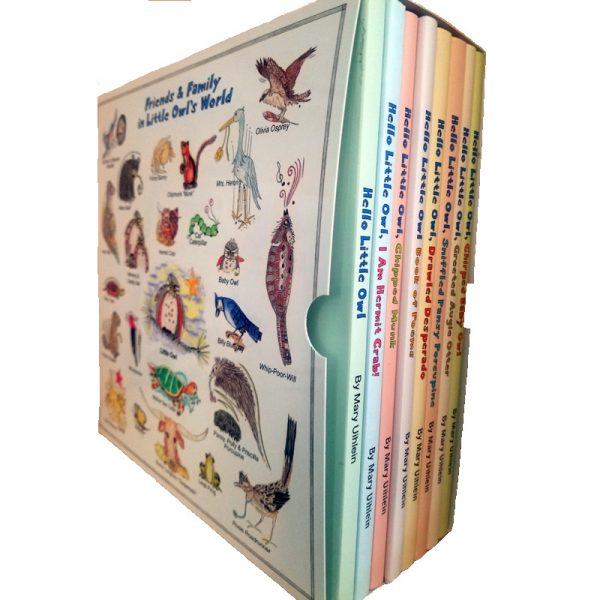 Boxed Set of Hello Little Owl Children's Books by Mary Uihlein - left side of box with an illustration of all of Little Owls friends