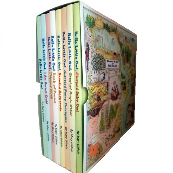 Boxed Set of Hello Little Owl Children's Books by Mary Uihlein - right side of box with the map of Little Owl's world